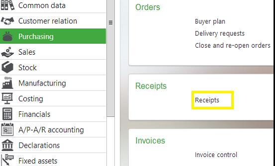 Path to Purchase Receipts Screen