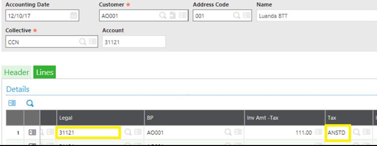 Customer Invoice lines tab screen
