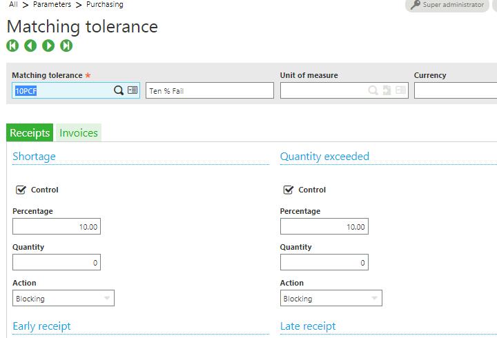 Matching tolerances screen