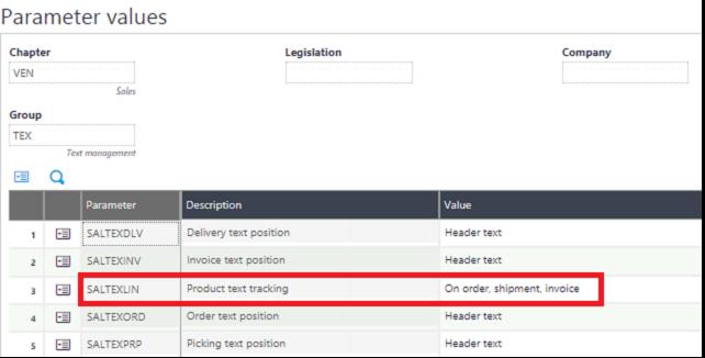 Parameter values detail Screen
