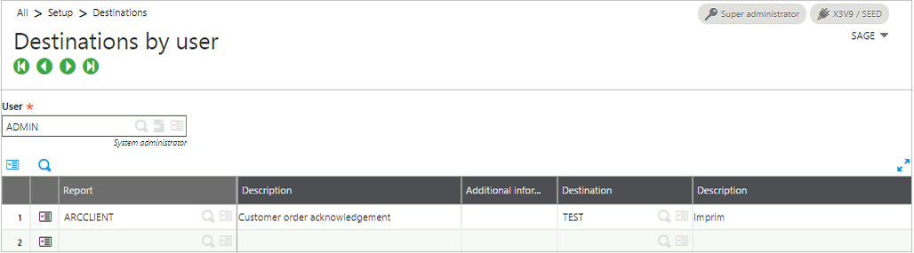 How to set report destination by user in Sage Enterprise