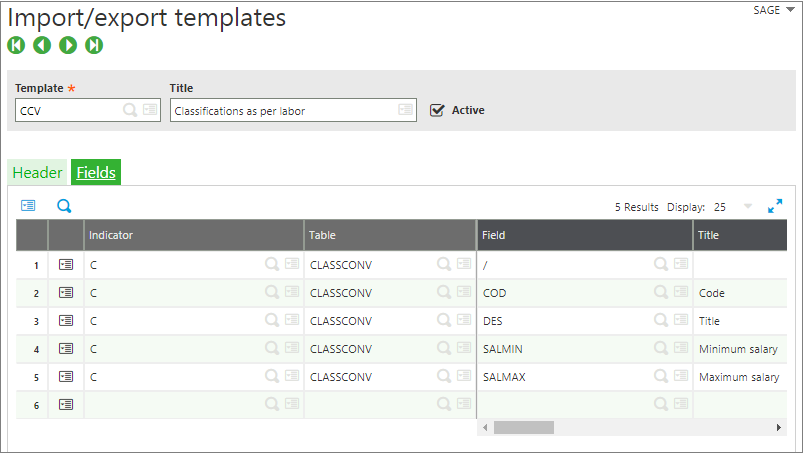 Import Export templates sage x3
