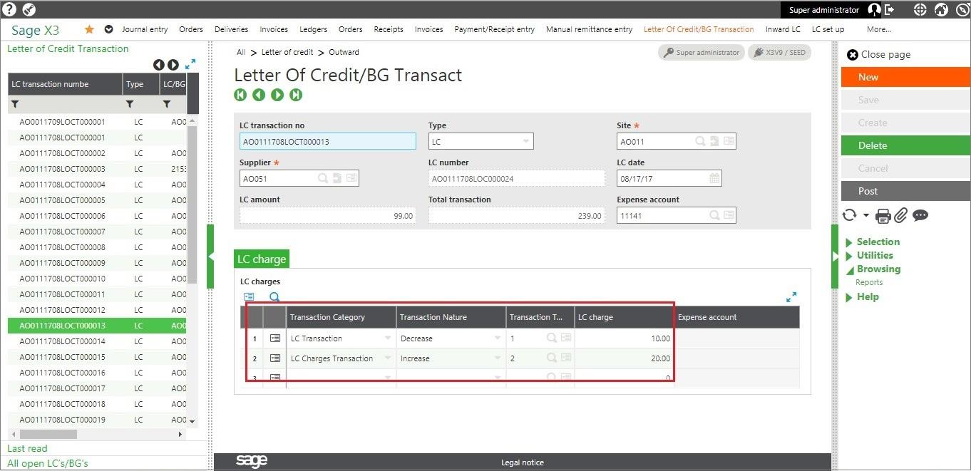 LC transaction screen