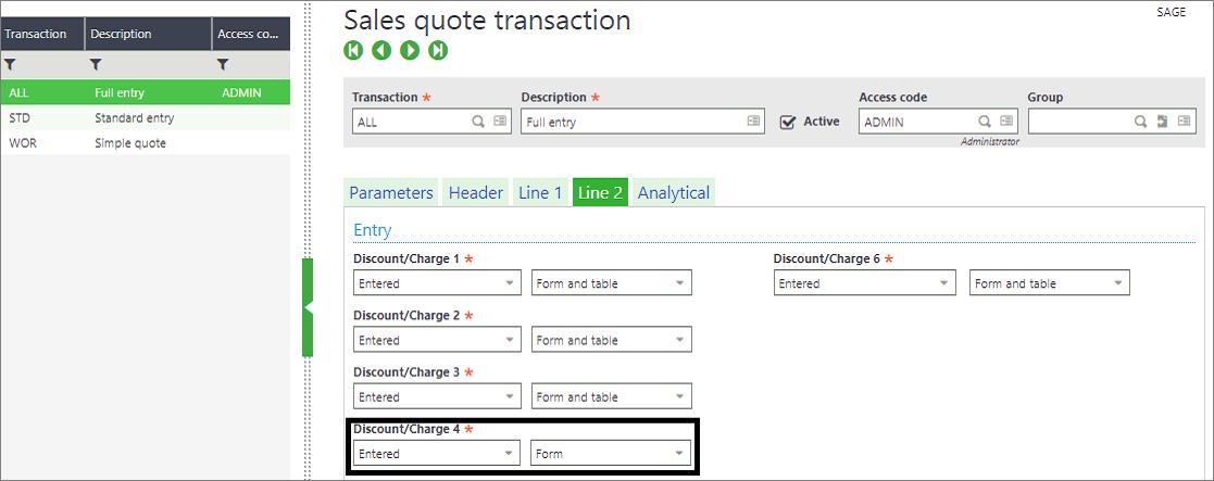Sales quote transaction