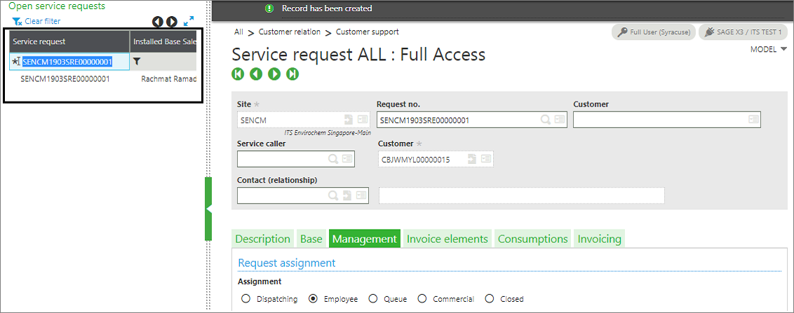 Service request Left Panel Search