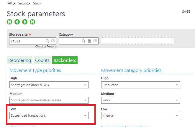 Stock Parameter setup