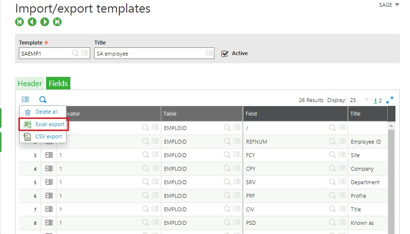 Import-export templates page Excel Export option