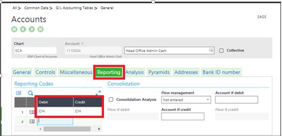 Accounts-Reporting Tab