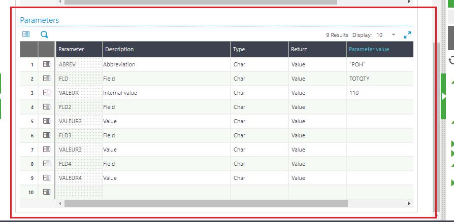 Workflow Rules Parameter grid