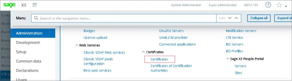 Certificate Screen