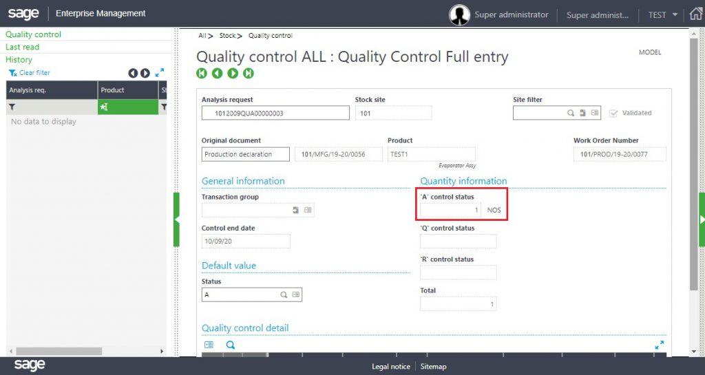 [Quality Control Screen –  A Status]