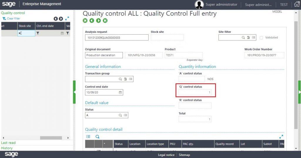 [Quality Control Screen – Q Status]