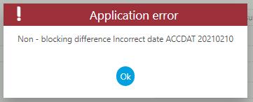 "Error – ""Non-blocking difference Incorrect date ACCDAT 20210210"""