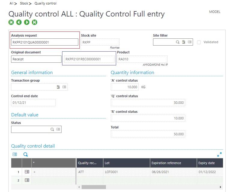 Quality Control Screen
