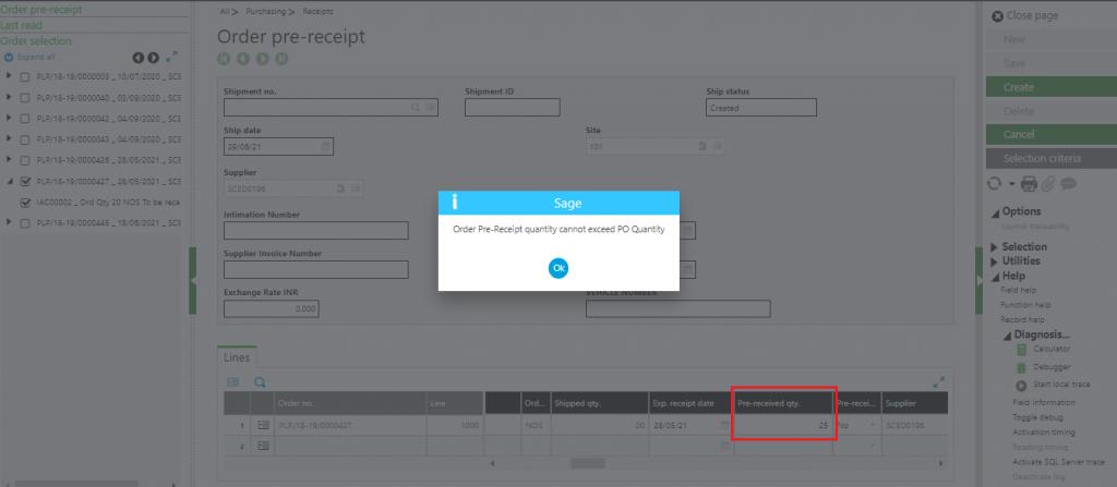 [Order pre-receipt screen – Validation error message]