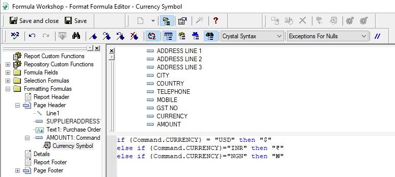 Currency symbol formula