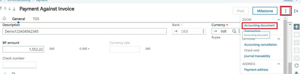 Accounting document on Payment screen