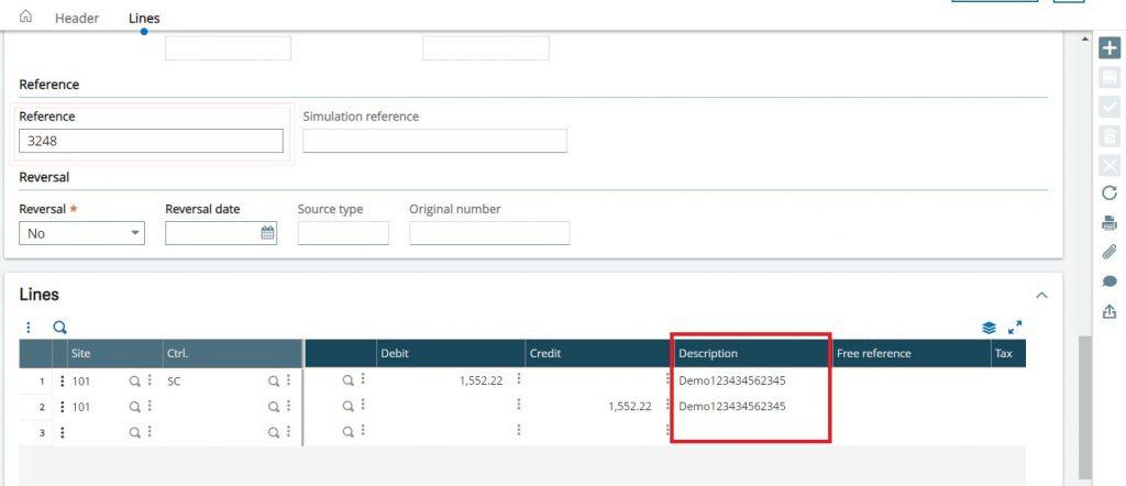Line description fields on Journal Entry screen