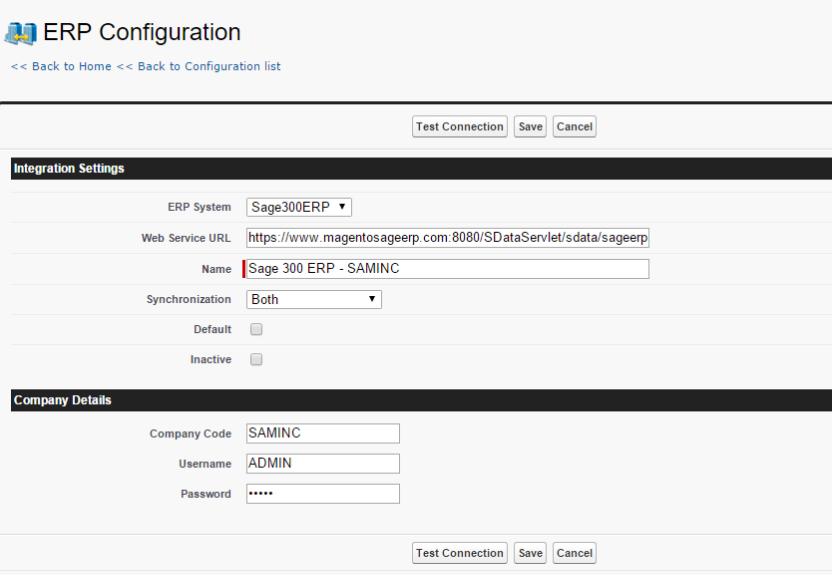 Integration Settings for Sage 300