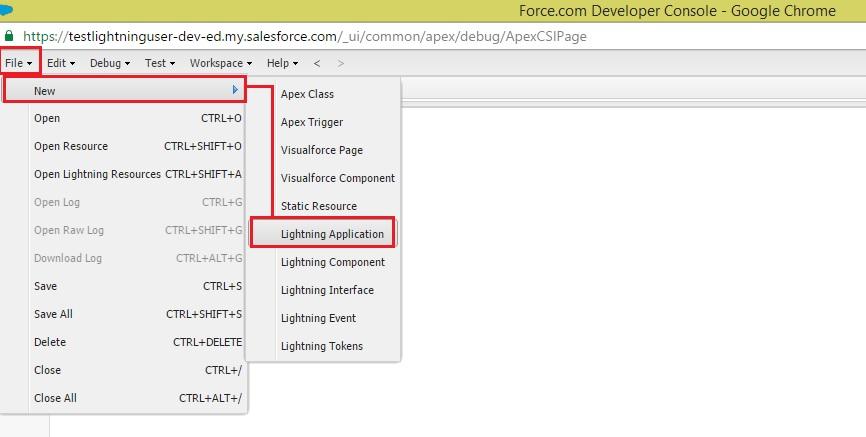 Creating new lightning app
