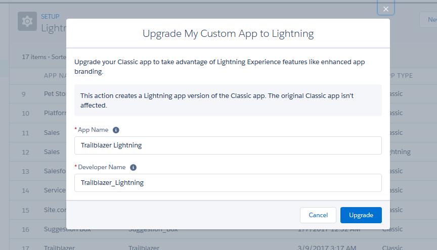 Upgrading an App