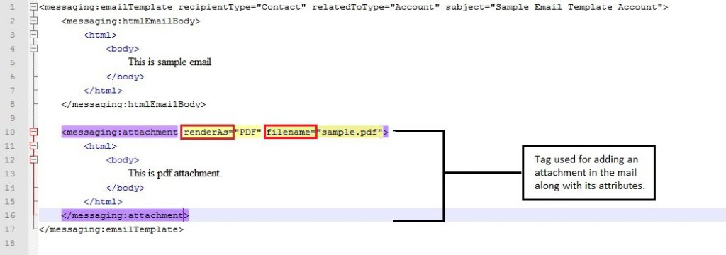 code snippet demonstrating adding attachment in the mail