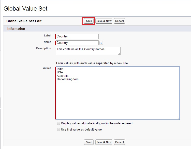 Creating Global Picklist Value Set in Salesforce – Salesforce com