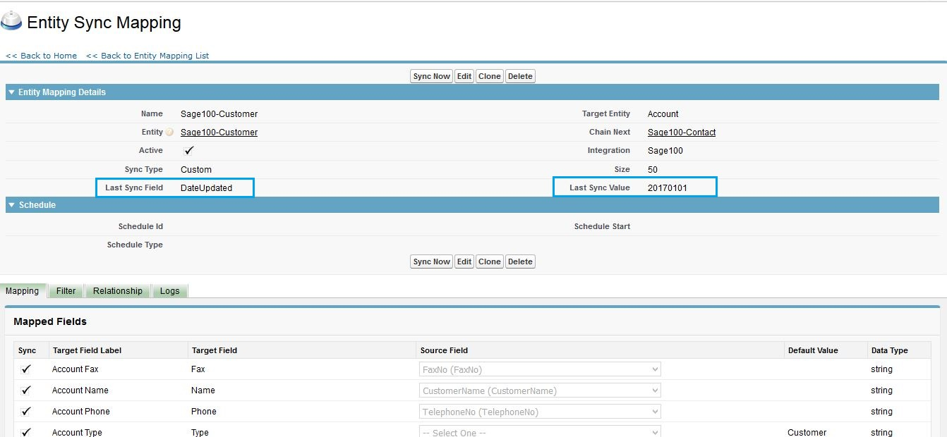 Import Data from Sage 100 ERP to Salesforce using Last Sync