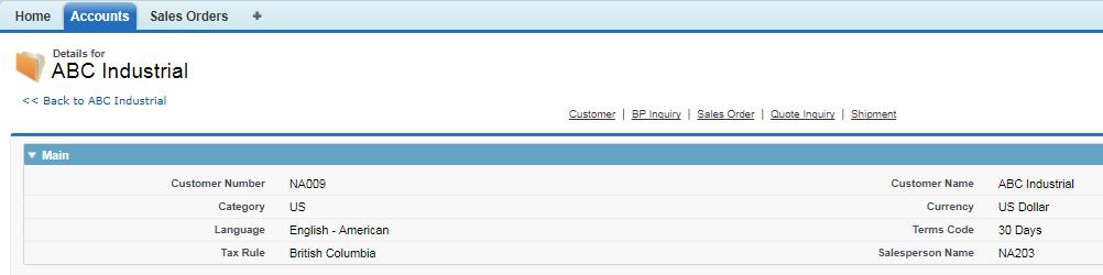 Sales Order tab