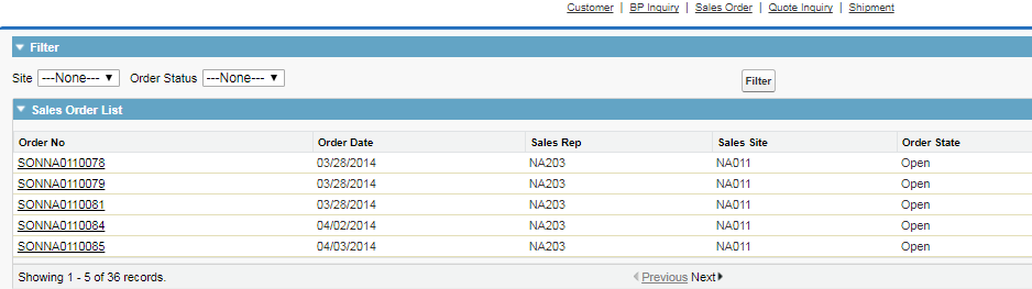 Sales Order Associated with customer