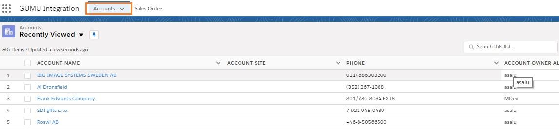 List Of Accounts