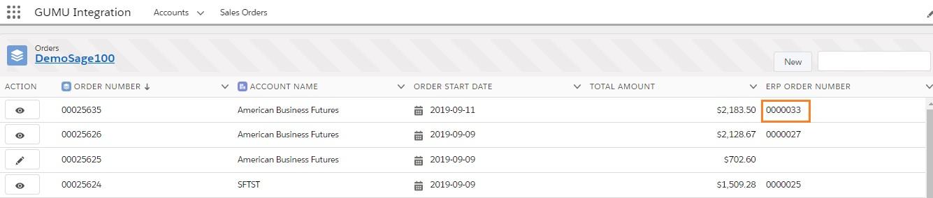 GUMU Salesforce Order List
