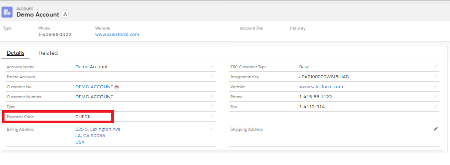 Salesforce Account - Payment Code Value