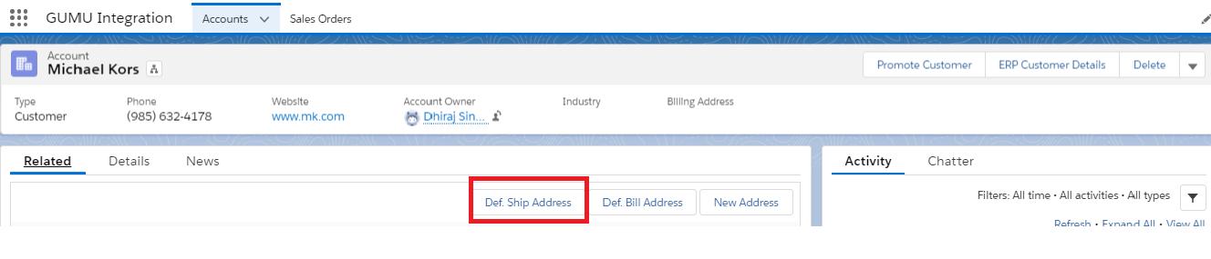 Def Ship Address button