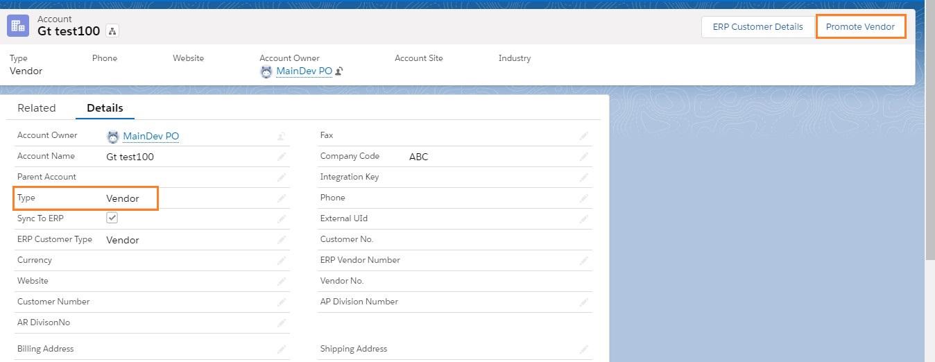Account Type Vendor
