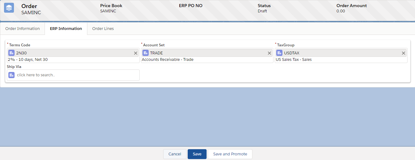 ERP Information Tab
