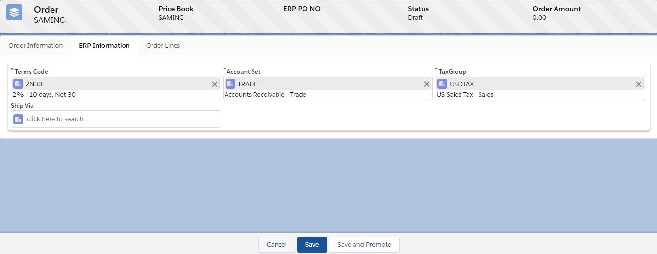 ERP Information Tab