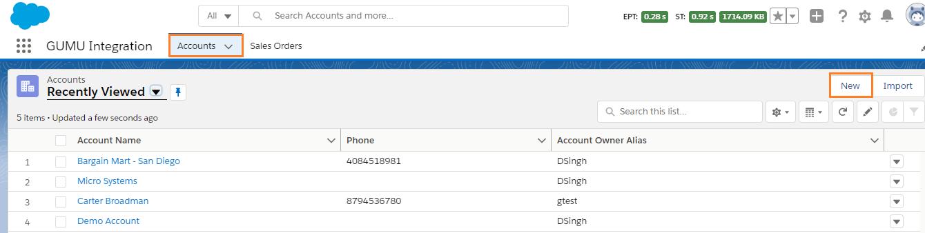 Accounts Listing