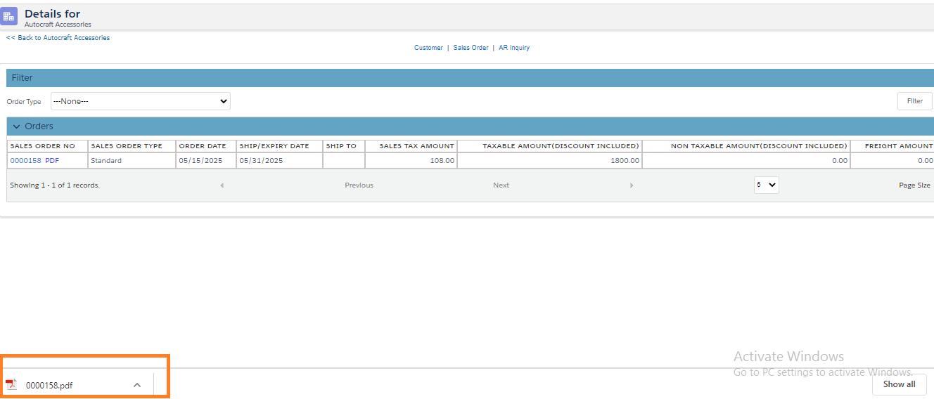 Sales Order PDF