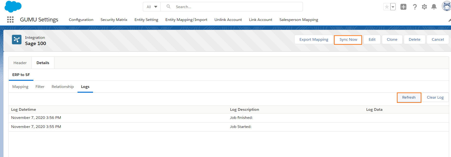Import Log Section