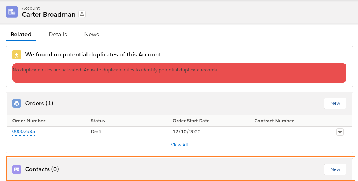 Contact - Account Layout