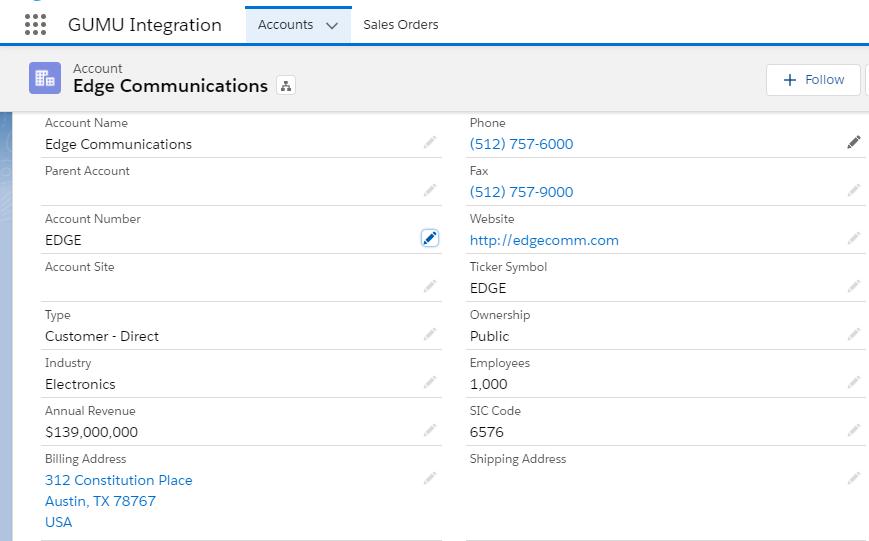 Salesforce Account Details