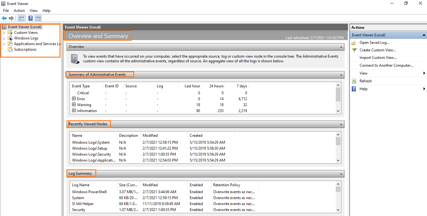 Event Viewer overview and Summary Display