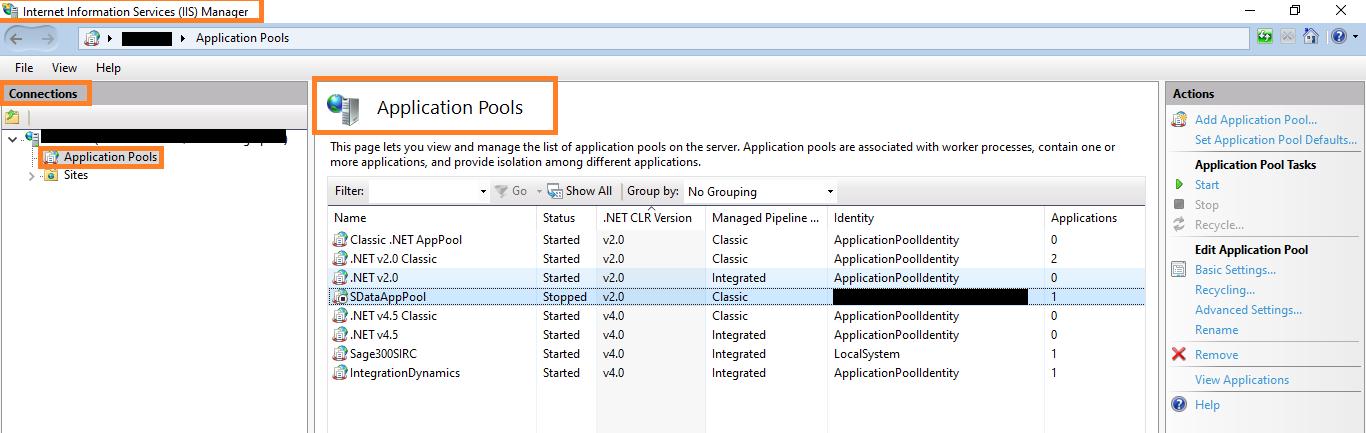 Status of SData Application Pool