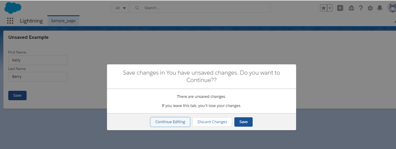 User Notification for Unsaved Changes