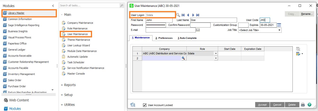 User Maintenance Screen