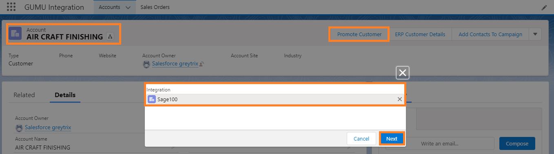 Promote Customer Screen Option
