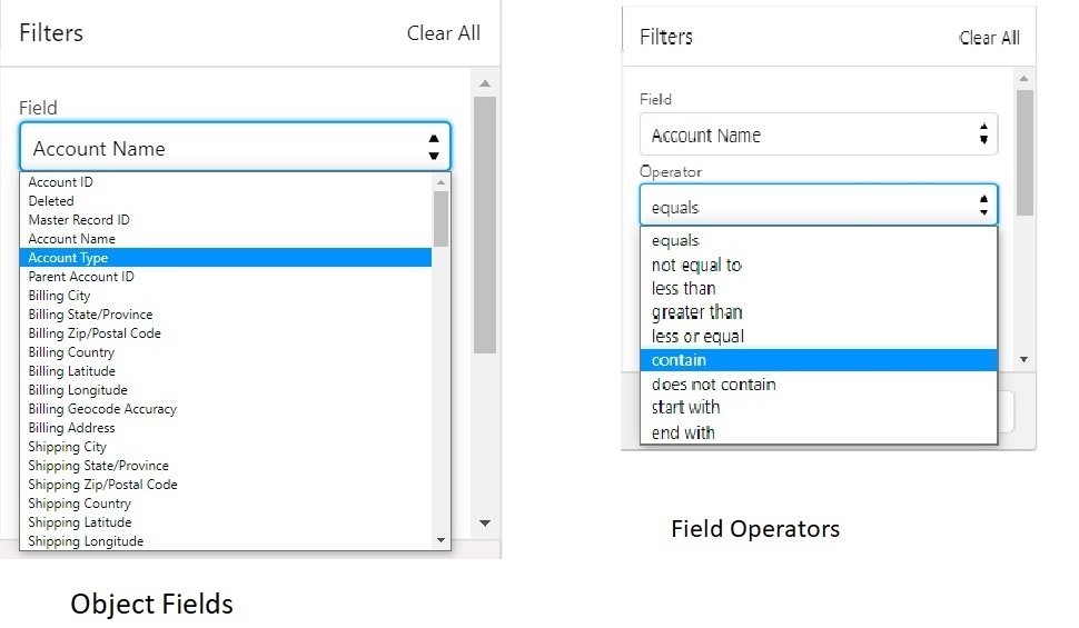 Dynamic Multi-Filter UI - Object and Operators